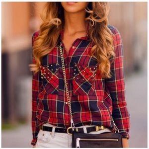Zara Red Navy Studded Plaid Button Down Shirt Top